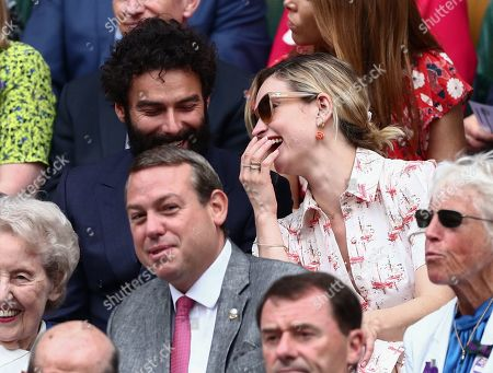 Stock Photo of Aidan Turner and Lily James in the Royal Box on Centre Cour