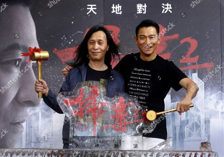 "Andy Lau, Herman Yau. Hong Kong actor Andy Lau, right, and director Herman Yau pose for a photo during a media event to promote their new movie ""The White Storm 2 - Drug Lords"" in Taipei, Taiwan"