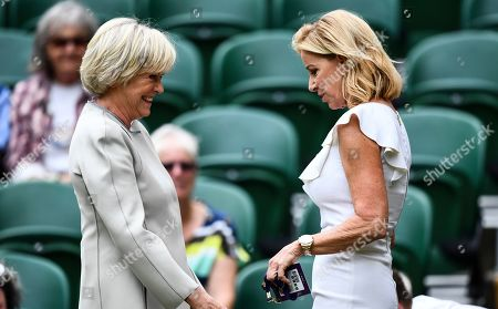 Sue Barker and Chris Evert on Centre Court