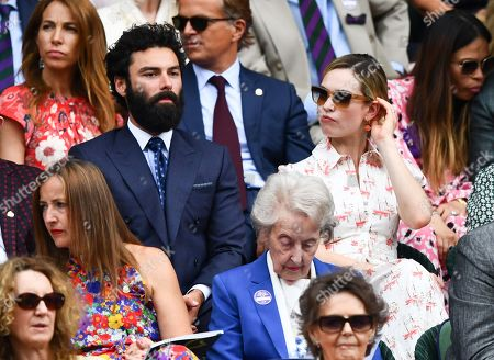 Aidan Turner and Lily James in the Royal Box on Centre Court
