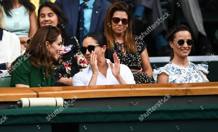 Catherine Duchess of Cambridge, Meghan Duchess of Sussex and Pippa Middleton in the Royal Box on Centre Court