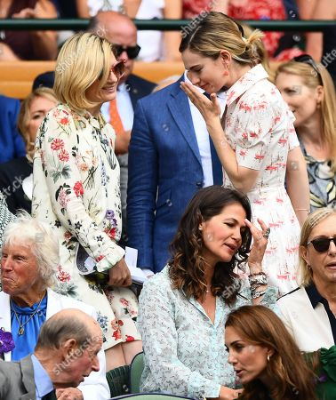 Jodie Whittaker and Lily James in the Royal Box on Centre Court
