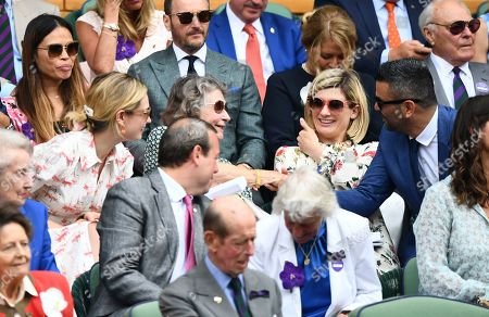 Lily James with her grandmother Marinette Mantle shaking hands with Christian Contreras, husband of Jodie Whittaker