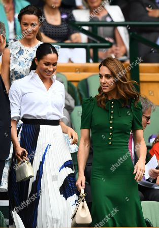 Stock Photo of Catherine Duchess of Cambridge, Meghan Duchess of Sussex and Pippa Middleton arrive in the Royal Box on Centre Court