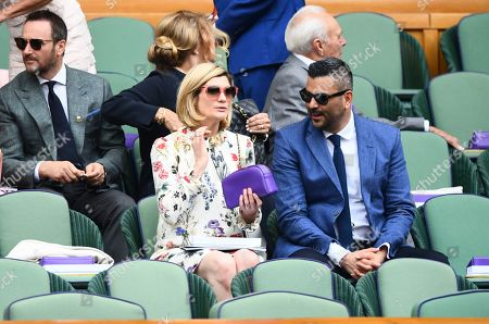 Jodie Whittaker and her husband Christian Contreras arrive in the Royal Box on Centre Court