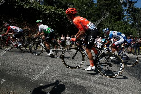 (L-R) Belgium's Thomas de Gendt of Lotto Soudal team, Benjamin King of the US of team Dimension Data, Italy's Alessandro De Marchi of Ccc team and Netherlands' Niki Terpstra of Total Direct Energie team in action during the 8th stage of the 106th edition of the Tour de France cycling race over 200km between Macon and Saint-Etienne, France, 13 July 2019.