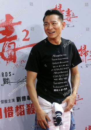 "Hong Kong actor Andy Lau pauses during a media event to promote his new movie ""The White Storm 2 - Drug Lords"" in Taipei, Taiwan"