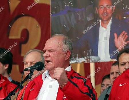 Stock Picture of Communist Party of the Russian Federation leader Gennady Zyuganov speaks during a Communist Party of the Russian Federation rally 'For justice and the rights of citizens! Stop the arbitrariness of power! Defending Grudinina!' on the Revolution Square in Moscow, Russia, 13 July 2019. The participants demand to stop the arbitrariness in relation to the Sovkhoz Imeni Lenina Director, former Russian presidential candidate of the Communist Party, Pavel Grudinin.