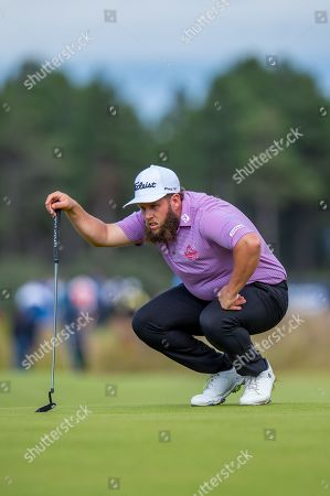 Andrew Johnston (ENG) surveys his putt on the 18th green during the third round of the Aberdeen Standard Investments Scottish Open at The Renaissance Club, North Berwick