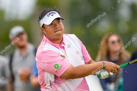 Kiradech Aphibarnrat (THA) drives on the 16th hole during the third round of the Aberdeen Standard Investments Scottish Open at The Renaissance Club, North Berwick