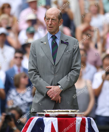 Prince Edward, Duke of Kent, stands on Centre Court for the presentation for the ladies singles trophies
