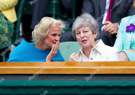 Gill Brook and Prime Minister Theresa May in the Royal box at Wimbledon for the Ladies singles Final