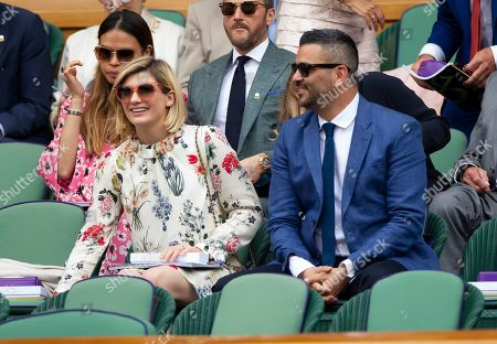 Jodie Whittaker and husband Christian Contreras  in the Royal Box at Wimbledon for the Ladies Final