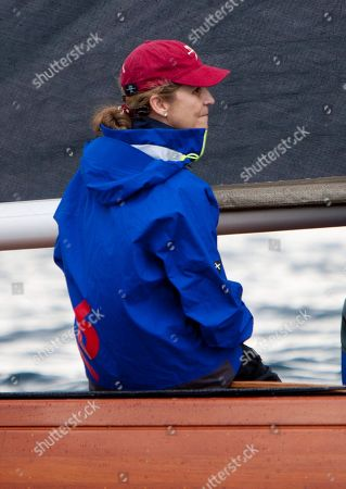 Stock Image of Spain's Princess Elena attends the Almirante Rodriguez-Toubes regatta in Pontevedra, northwestern Spain, 13 July 2019.