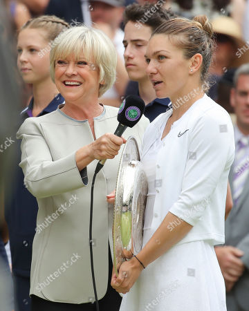 Stock Photo of BBC TV presenter Sue Barker interview's Simona Halep