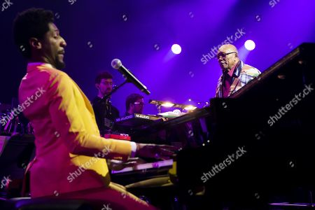 US pianist Jon Batiste and US music producer Quincy Jones perform at the 'Quincy Jones soundtrack of the 80's' celebration evening at the Auditorium Stravinski during the 53rd Montreux Jazz Festival, in Montreux, Switzerland, 13 July 2019. The event running from 28 June to 13 July will feature about 450 concerts.