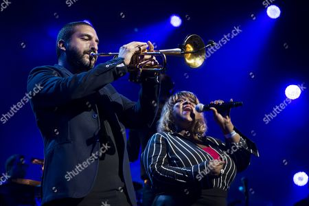 French-Lebanese trumpet player Ibrahim Maalouf, left, and Singer Vula Malinga, right, perform during the Quincy Jones soundtrack of the 80's celebration evening at the Auditorium Stravinski during the 53rd Montreux Jazz Festival (MJF), in Montreux, Switzerland, 13 July 2019. The MJF runs from June 28 to July 13 and features 450 concerts.