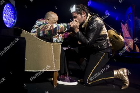 US music producer Quincy Jones, US and French singer Matthieu Chedid, alias M, react during the Quincy Jones soundtrack of the 80's celebration evening at the Auditorium Stravinski during the 53rd Montreux Jazz Festival (MJF), in Montreux, Switzerland, 13 July 2019. The MJF runs from June 28 to July 13 and features 450 concerts.