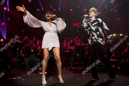 US singer Shelea, left, and British singer-songwriter, Daley, right, perform during the Quincy Jones soundtrack of the 80?s celebration evening at the Auditorium Stravinski during the 53rd Montreux Jazz Festival (MJF), in Montreux, Switzerland, 13 July 2019. The MJF runs from June 28 to July 13 and features 450 concerts.