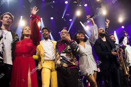 Swedish singer Jonah Nilsson, US singer Lauren Jauregui, US pianist Jon Batiste, US music producer Quincy Jones, US singer Shelea, French-Lebanese trumpet player Ibrahim Maalouf and French singer Matthieu Chedid alias M pose at the 'Quincy Jones soundtrack of the 80's' celebration evening at the Auditorium Stravinski during the 53rd Montreux Jazz Festival, in Montreux, Switzerland, 13 July 2019. The event running from 28 June to 13 July will feature about 450 concerts.