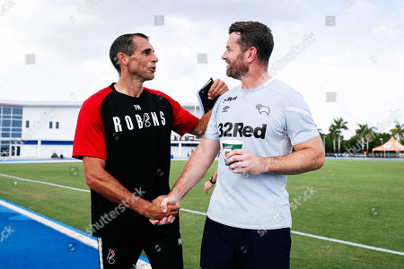 Stock Image of Pat Mountain of Bristol City greets Shay Given of Derby County