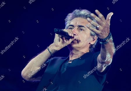 Stock Image of Luciano Ligabue in concert in Rome for the last leg of his Start Tour 2019. At the Olympic Stadium in Rome the singer presents the songs from his latest album Start along with those that have extolled his thirty-year career.