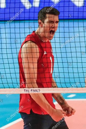 USA's Matthew Anderson reacts during the FIVB Volleyball Men's Nations League semifinal match between Brazil and the USA at Credit Union 1 Arena in Chicago, Illinois, USA, 13 July 2019. Russia defeated Poland to reach the finals.