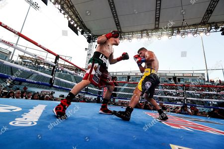 Stock Picture of Ronny Rios of the US (R) in action against Diego de la Hoya of Mexico (L) during their NABF and WBA Gold Super Bantamweight Title fight at Dignity Health Sports Park in Carson, California, USA, 13 July 2019.