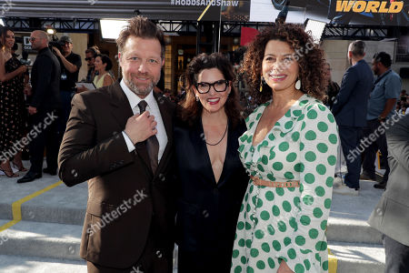 David Leitch, Director, Kelly McCormick, Executive Producer, and Donna Langley, Chairman, Universal Filmed Entertainment Group, seen at Universal Pictures World Premiere of FAST & FURIOUS PRESENTS: HOBBS & SHAW at the Dolby Theater in Hollywood, CA on Saturday, July 13th, 2019.