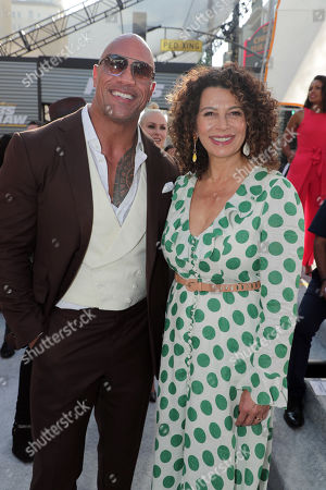 Dwayne Johnson and Donna Langley, Chairman, Universal Filmed Entertainment Group, seen at Universal Pictures World Premiere of FAST & FURIOUS PRESENTS: HOBBS & SHAW at the Dolby Theater in Hollywood, CA on Saturday, July 13th, 2019.