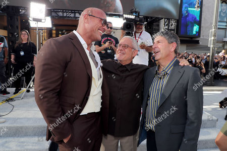 Dwayne Johnson, Ron Meyer, Vice Chairman, NBCUniversal, and Jeff Shell, Chairman, NBCUniversal Film and Entertainment, seen at Universal Pictures World Premiere of FAST & FURIOUS PRESENTS: HOBBS & SHAW at the Dolby Theater in Hollywood, CA on Saturday, July 13th, 2019.