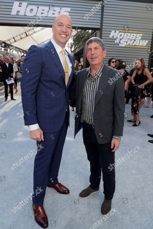 Hiram Garcia, Producer, and Jeff Shell, Chairman, NBCUniversal Film and Entertainment, seen at Universal Pictures World Premiere of FAST & FURIOUS PRESENTS: HOBBS & SHAW at the Dolby Theater in Hollywood, CA on Saturday, July 13th, 2019.