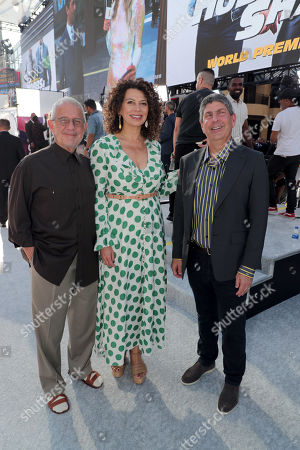 Ron Meyer, Vice Chairman, NBCUniversal, Donna Langley, Chairman, Universal Filmed Entertainment Group, and Jeff Shell, Chairman, NBCUniversal Film and Entertainment, seen at Universal Pictures World Premiere of FAST & FURIOUS PRESENTS: HOBBS & SHAW at the Dolby Theater in Hollywood, CA on Saturday, July 13th, 2019.
