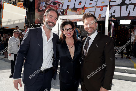 Chris Morgan, Writer/Producer, Kelly McCormick, Executive Producer, and David Leitch, Director, seen at Universal Pictures World Premiere of FAST & FURIOUS PRESENTS: HOBBS & SHAW at the Dolby Theater in Hollywood, CA on Saturday, July 13th, 2019.