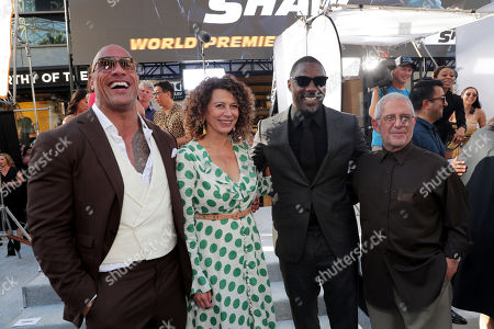Dwayne Johnson, Donna Langley, Chairman, Universal Filmed Entertainment Group, Idris Elba and Ron Meyer, Vice Chairman, NBCUniversal, seen at Universal Pictures World Premiere of FAST & FURIOUS PRESENTS: HOBBS & SHAW at the Dolby Theater in Hollywood, CA on Saturday, July 13th, 2019.