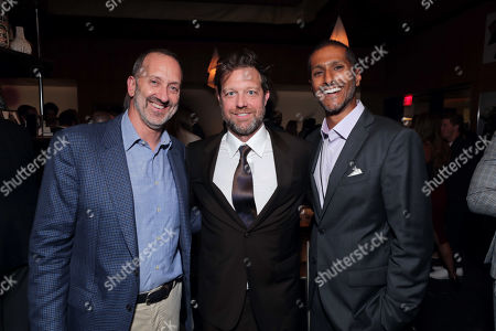 Stock Image of Jimmy Horowitz, President of Universal Pictures, David Leitch, Director, and Abhijay Prakash, President of Universal Filmed Entertainment Group, seen at Universal Pictures World Premiere of FAST & FURIOUS PRESENTS: HOBBS & SHAW in Hollywood, CA on Saturday, July 13th, 2019.