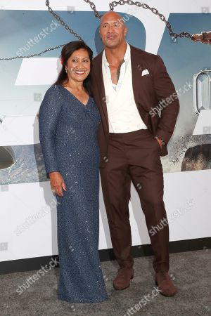 Ata Johnson and her son US actor/cast member Dwayne Johnson arrive for the world premiere of 'Fast and Furious presents Hobbs and Shaw' at the Dolby Theatre in Hollywood, Los Angeles, California, USA, 13 July 2019. The movie will be released in the US on 02 August 2019.