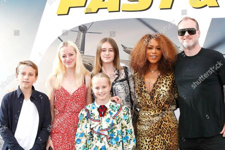 US rapper/actress Eve (2-R), her husband Maximillion Cooper (R) and his four children arrives for the world premiere of 'Fast and Furious presents Hobbs and Shaw' at the Dolby Theatre in Hollywood, Los Angeles, California, USA, 13 July 2019. The movie will be released in the US on 02 August 2019.