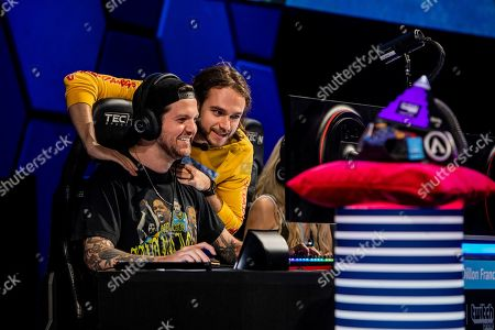 Stock Photo of Producer and DJ Dillon Francis and Grammy-award winning producer Zedd seen at the Amazon Twitch Prime Crown Cup at the HyperX Esports Arena at the Luxor, in Las Vegas, Nev