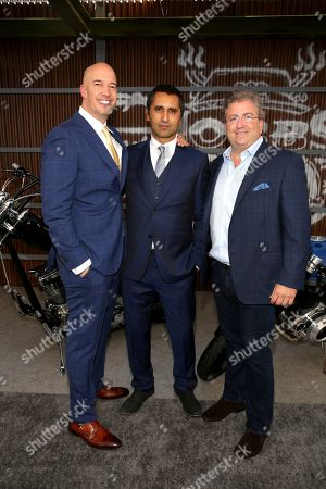 Hiram Garcia, Cliff Curtis, Ethan Smith. Hiram Garcia, Producer, from left, Cliff Curtis and Ethan Smith, Executive Producer, are seen at Universal Pictures World Premiere of FAST & FURIOUS PRESENTS: HOBBS & SHAW at the Dolby Theater on Saturday, July 13th, 2019, in Hollywood, Calif