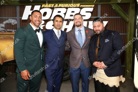Stock Photo of Josh Mauga, Cliff Curtis, Joe Anoa'i, John Tui. Josh Mauga, from left, Cliff Curtis, Joe Anoa'i and John Tui are seen at Universal Pictures World Premiere of FAST & FURIOUS PRESENTS: HOBBS & SHAW at the Dolby Theater on Saturday, July 13th, 2019, in Hollywood, Calif