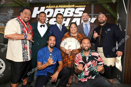 Kelemete Kelemete, West LeClay, Keola Kaahanui-Asuega, Josh Mauga, Cliff Curtis, Lori Pelenise Tuisano, Joe Anoa'i, John Tui. Kelemete Kelemete, from left, Josh Mauga, West LeClay, Cliff Curtis, Lori Pelenise Tuisano, Keola Kaahanui-Asuega, Joe Anoa'i, John Tui is seen at Universal Pictures World Premiere of FAST & FURIOUS PRESENTS: HOBBS & SHAW at the Dolby Theater on Saturday, July 13th, 2019, in Hollywood, Calif