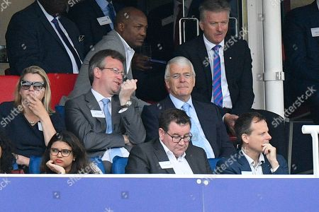 Former Prime Minister Sir John Major watching from the Grandstand during the ICC Cricket World Cup 2019 Final match between New Zealand and England at Lord's Cricket Ground, St John's Wood