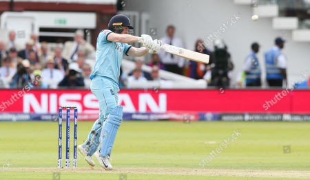 Eoin Morgan (Captain) of England is out for 9 runs smashing a high cover drive and is caught Lockie Ferguson of New Zealand bowled Jimmy Neesham of New Zealand