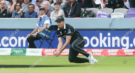The sub fielder takes a catch to dismiss Jos Buttler (WK) of England off Lockie Ferguson of New Zealand's  bowling out for 59 runs