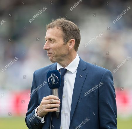 Michael Atherton presenting before New Zealand vs England, ICC World Cup Final at Lord's Cricket Ground on 14th July 2019