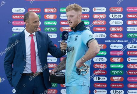 Man of the Match Ben Stokes (England) interviewed by Nasser Hussain during New Zealand vs England, ICC World Cup Final at Lord's Cricket Ground on 14th July 2019