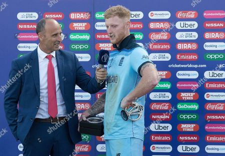 Stock Photo of Man of the Match Ben Stokes (England) interviewed by Nasser Hussain during New Zealand vs England, ICC World Cup Final at Lord's Cricket Ground on 14th July 2019