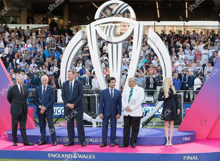The Trophy Presentation party, including Sachin Tendulkar saduring New Zealand vs England, ICC World Cup Final at Lord's Cricket Ground on 14th July 2019