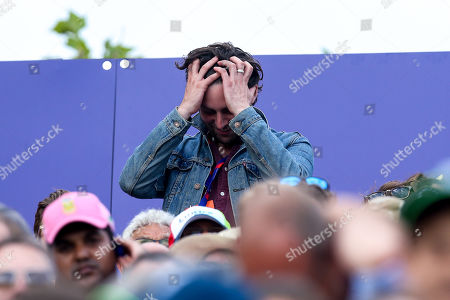 Former Maccabees guitarist Felix White shows his emotion during The Cricket World Cup Final between England and New Zealand